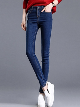 Ericdress Simple Solid Color Pencile Jeans