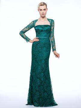 Ericdress Sheath Square Long Sleeves Lace Brush Train Evening Dress