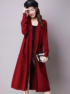 Ericdress Solid Color Casual Long Knitwear