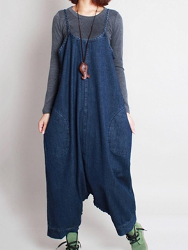 Ericdress Solid Color Loose Denim Jumpsuits Pants