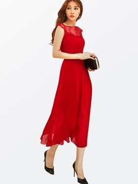 Ericdress Summer OL Style Soild Color Belt Maxi Dress