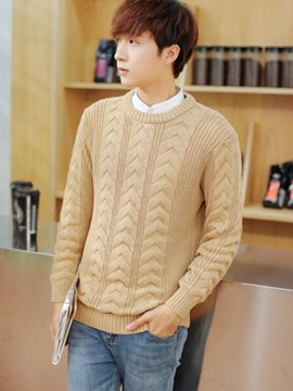 Ericdress Crewneck Jacquard Men's Sweater