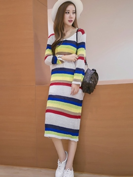 Ericdress Color Block Straight Sweater Dress