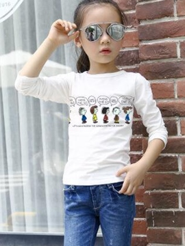 Ericdress Simple Cartoon Printed Soiled Color Girls Tops