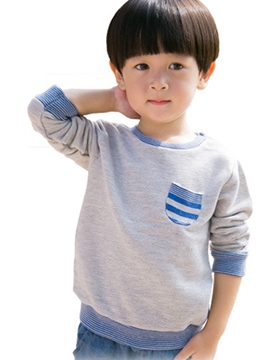 Ericdress Strip Lace-Trim Patchwork Tee Boys Tops