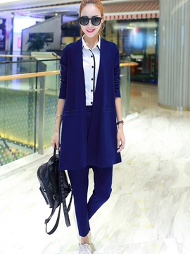 Ericdress Solid Color Long Blazer Two-Piece Suit