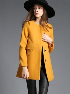 Ericdress Loose Solid Color Coat