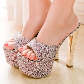 Ericdress Sequins Platform Peep Toe Mules Shoes