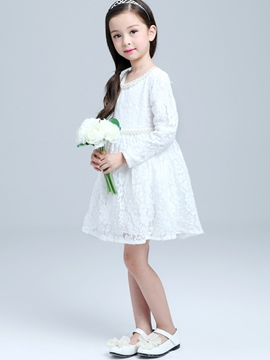 Ericdress Lace Hollow Bead-Trim Belt Girls Dresses
