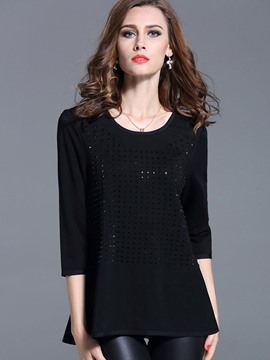 Ericdress Slim Beads Plus Size T-Shirt