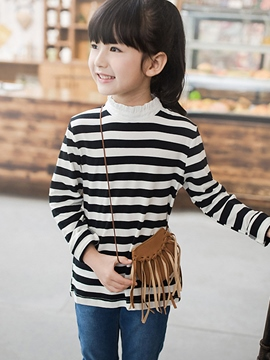Ericdress Whit&Black Strip Wave-Cut Collar Girls Tops