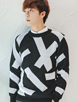 Ericdress Iregular Pattern Crewneck Pullover Men's Sweater