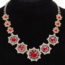 Ericdress Alloy Flowers Ruby Decorated Necklace