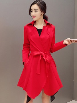 Ericdress Solid Color Slim Belt Trench Coat