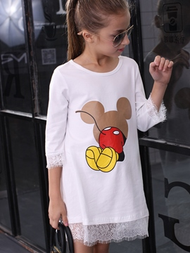 Ericdress Cartoon Printed Lace Patchwork Tee Girls Tops
