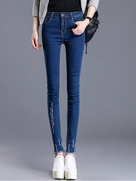 Ericdress High Waist Embroidery Jeans