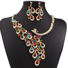 Ericdress Exquisite Peacock Diamante Jewelry Set