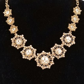Ericdress Gold Flower Crystal Necklace
