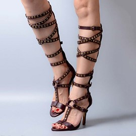 Ericdress Top Quality Rivets Knee High Stiletto Sandals