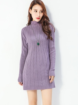 Ericdress Plain Turtleneck Long Sleeve Sweater Dress