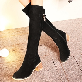 Ericdress Elegant Suede Knight Knee High Boots