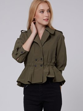 Ericdress Solid Color Wave Cut Trench Coat