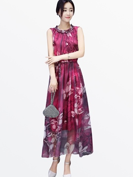 Ericdress Summer Sleeveless Print Bead Maxi Dress