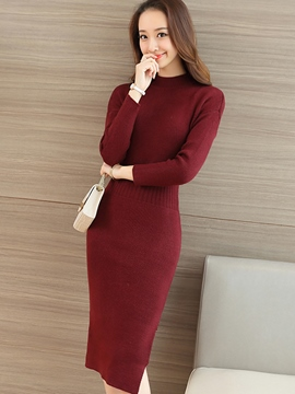 Ericdress Knit Soild Color Long Sleeve Bodycon Dress