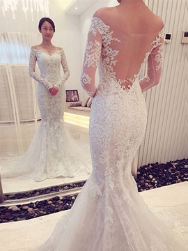 Ericdress Charming Off The Shoulder Backless Long Sleeves Mermaid Wedding Dress