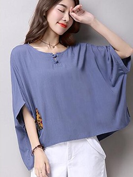 Ericdress Loose Color Block Batwing T-Shirt