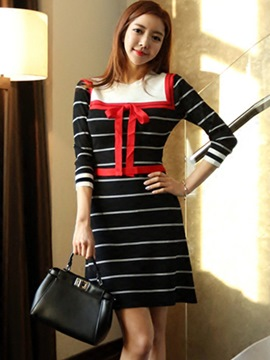 Ericdress Stripe Bowknot Patchwork Knitted Bodycon Dress