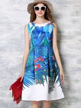 Ericdress Vintage Summer Sleeveless Print Casual Dress