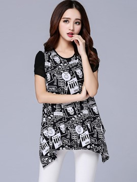 Ericdress Color Block Letters Printed Plus Size T-Shirt