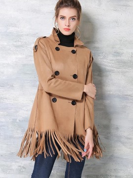 Ericdress Double-Breasted Tassel Trench Coat