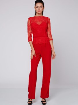 Ericdress Elegant Hollow Lace Jumpsuits Pants