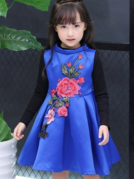 Ericdress Stand Collar Embroidery Appliques Pleated Girls Outfits