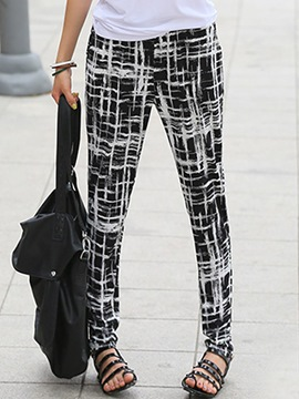 Ericdress Simple Plaid Print Pants