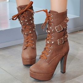 Ericdress Vintage Lace up High Heel Boots with Rivets&buckles
