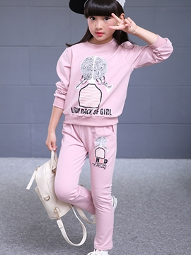 Ericdress Cartoon Printed Slim Tee Two-Piece Girls Outfits