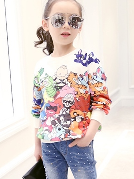 Ericdress Cartoon Graffiti Sweatshirts Girls Tops