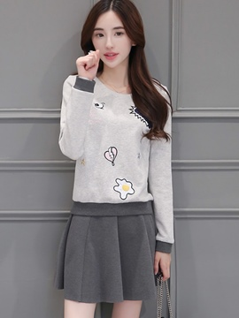 Ericdress Sweet Embroidery T-Shirt Suit