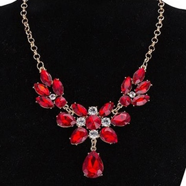 Ericdress Ruby Inlaid Gold Plated Necklace