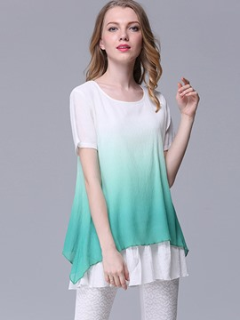 Ericdress Gradient Plus Size Blouse