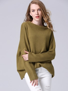 Ericdress Loose Solid Color Slash Knitwear