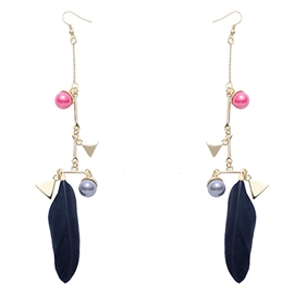 Ericdress Pearl & Feather Design Earrings