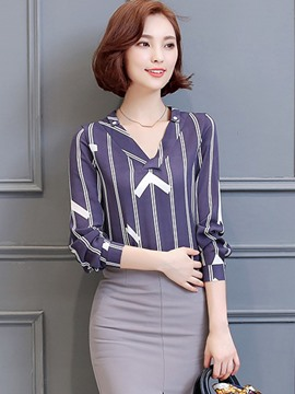 Ericdress Slim V-Neck Stripped Blouse