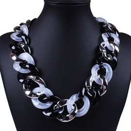 Ericdress Black & White Resin Chain Necklace