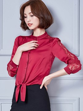 Ericdress Solid Color Lace Patchwork Lace-Up Blouse