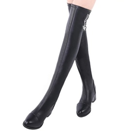 Ericdress Chic Black PU Knee High Boots