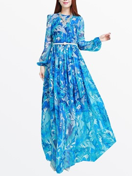 Ericdress Print Floor-Length Maxi Dress